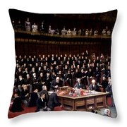 The Lord Chancellor About To Put The Question In The Debate About Home Rule In The House Of Lords Throw Pillow by English School