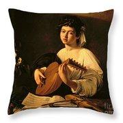 The Lute Player Throw Pillow by Michelangelo Merisi da Caravaggio