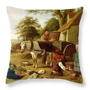 The Market Cart Throw Pillow by Henry Charles Bryant