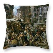 The Market Of Verona Throw Pillow by Adolph Friedrich Erdmann von Menzel