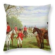 The Meet Throw Pillow by Edward Benjamin Herberte