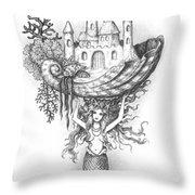 The Mermaid Fantasy Throw Pillow by Adam Zebediah Joseph