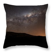 The Milky Way Setting Behind The Hills Throw Pillow by Luis Argerich