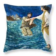 The Miracles Of Jesus Walking On Water  Throw Pillow by Clive Uptton