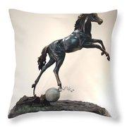 The Moonhorse Bronze Throw Pillow by Dawn Senior-Trask