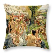 The Morning Throw Pillow by Leon Henri Marie Frederic