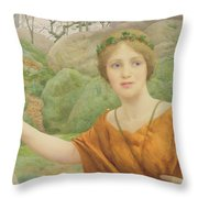 The Nymph Throw Pillow by Thomas Cooper Gotch