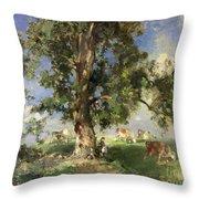 The Old Ash Tree Throw Pillow by Edward Arthur Walton