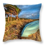 The Old Blue Boat Throw Pillow by Debra and Dave Vanderlaan