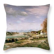The Old Quay At Bercy Throw Pillow by Jean Baptiste Armand Guillaumin