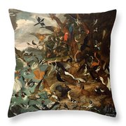 The Parliament Of Birds Throw Pillow by Carl Wilhelm de Hamilton