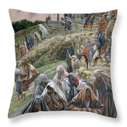 The People Beholding The Things That Were Done Smote Their Breasts Throw Pillow by Tissot