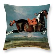 The Piebald Horse Throw Pillow by Johann Georg Hamilton
