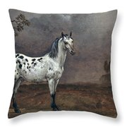 The Piebald Horse Throw Pillow by Paulus Potter