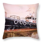 The Pilot Boat Throw Pillow by Marguerite Chadwick-Juner