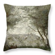 The Pond Throw Pillow by Jean Baptiste Corot
