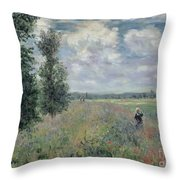 The Poppy Field Throw Pillow by Claude Monet