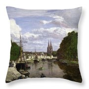 The Port At Quimper Throw Pillow by Eugene Louis Boudin