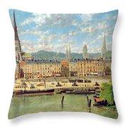 The Port At Rouen Throw Pillow by Torello Ancillotti