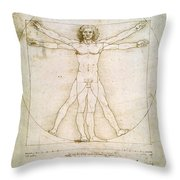 The Proportions Of The Human Figure  Throw Pillow by Leonardo Da Vinci