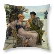 The Proposal Throw Pillow by Sir Lawrence Alma Tadema