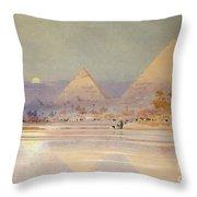 The Pyramids At Dusk Throw Pillow by Augustus Osborne Lamplough