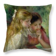 The Reading Throw Pillow by Pierre Auguste Renoir