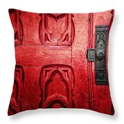 The Red Church Door Throw Pillow by Lisa Russo