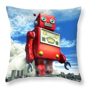 The Red Tin Robot And The City Throw Pillow by Luca Oleastri