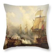 The Redoutable at Trafalgar Throw Pillow by Auguste Etienne Francois Mayer
