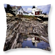 The Reflection At Pemaquid Throw Pillow by Skip Willits
