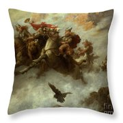 The Ride Of The Valkyries  Throw Pillow by William T Maud