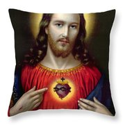 The Sacred Heart of Jesus Throw Pillow by English School