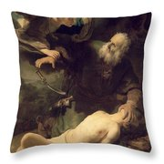 The Sacrifice Of Abraham Throw Pillow by Rembrandt