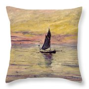 The Sailing Boat Evening Effect Throw Pillow by Claude Monet