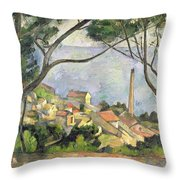 The Sea At L Estaque Throw Pillow by Paul Cezanne