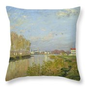 The Seine at Argenteuil Throw Pillow by Claude Monet