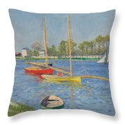 The Seine At Argenteuil Throw Pillow by Gustave Caillebotte