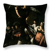 The Seven Works Of Mercy Throw Pillow by Caravaggio