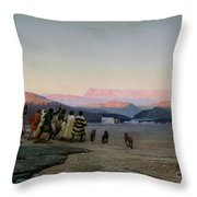 The Shepherds Led by the Star Arriving at Bethlehem Throw Pillow by Octave Penguilly lHaridon