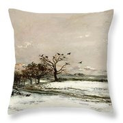The Snow Throw Pillow by Charles Francois Daubigny