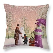 The Snowman Throw Pillow by Peter Szumowski