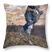 The Sower Throw Pillow by Tissot
