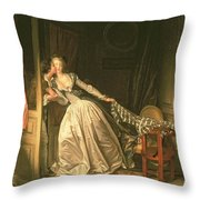 The Stolen Kiss Throw Pillow by Jean-Honore Fragonard