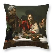 The Supper at Emmaus Throw Pillow by Caravaggio