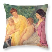 The Swim Or Two Mothers And Their Children On A Boat Throw Pillow by Mary Stevenson Cassatt