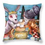 The Tea Party Throw Pillow by Lucia Stewart