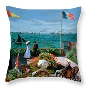 The Terrace At Sainte Adresse Throw Pillow by Claude Monet