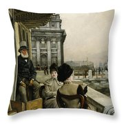 The Terrace Of The Trafalgar Tavern Greenwich Throw Pillow by James Jacques Joseph Tissot