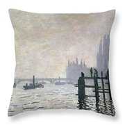 The Thames Below Westminster Throw Pillow by Claude Monet